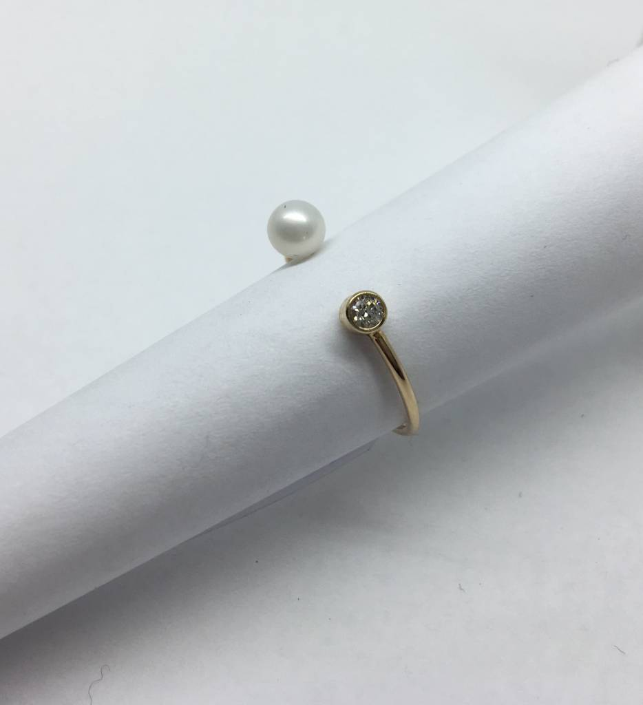 Zoe Chicco Diamond and Pearl Ring