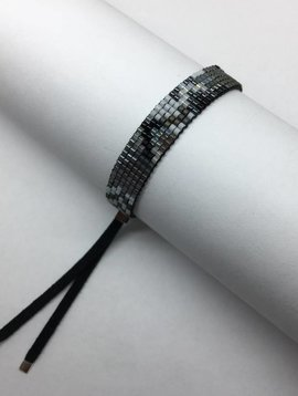 Julie Rofman Handwoven Glass Beaded Bracelet Fog