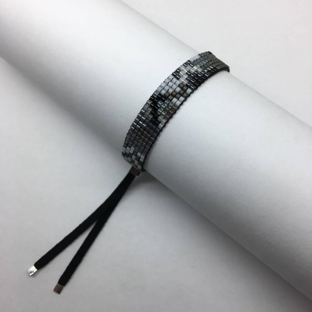 Julie Rofman Handwoven Glass Beaded Bracelet Fog