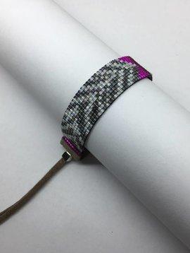 Julie Rofman Handwoven Glass Beaded Bracelet Zebra