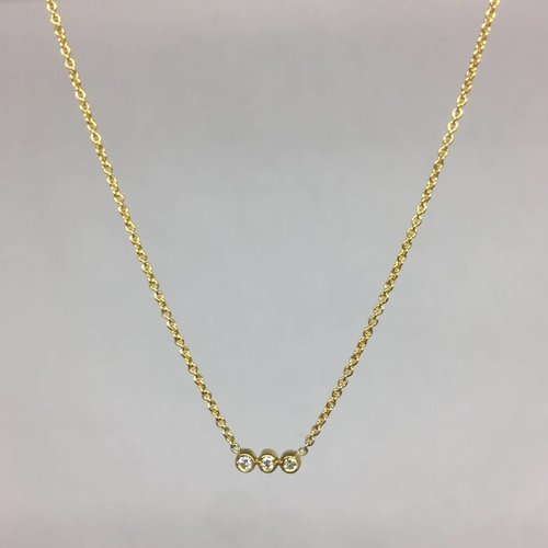 Jennifer Meyer Three Diamond Bezel Necklace