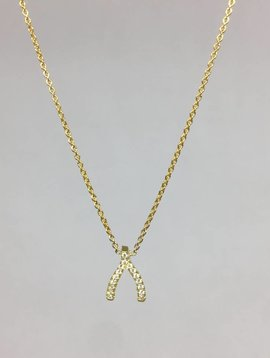 Jennifer Meyer Diamond Wishbone Necklace