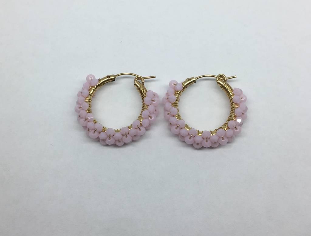 Viv & Ingrid Pink Beaded Hoops