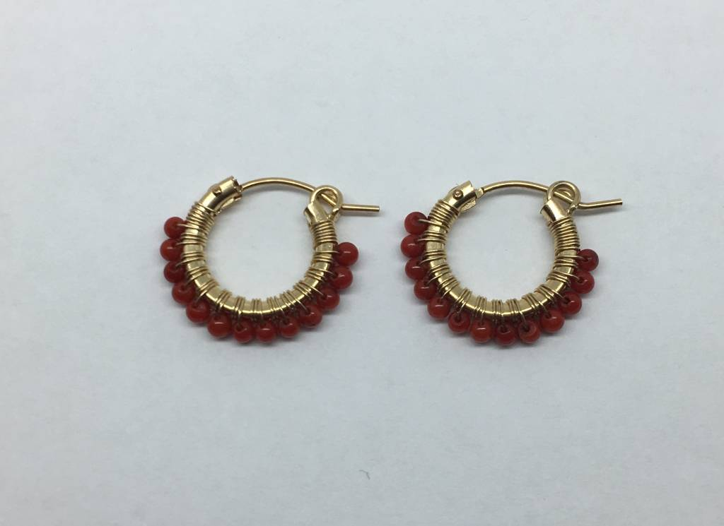 Viv & Ingrid Red Beaded Mini Hoops