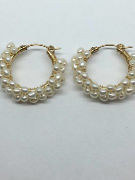 Viv & Ingrid Beaded Pearl Hoops