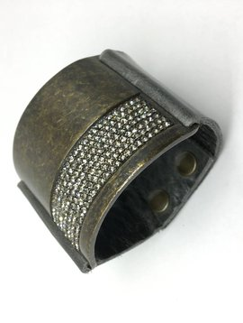 Rebel Design Crystal and Leather Block Cuff