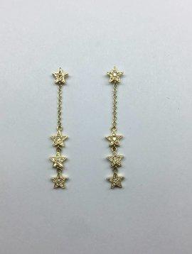 Jennifer Meyer Four Mini Star Diamond Earrings