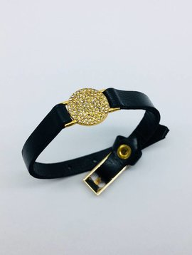 Rebel Design Crystal Disc Leather Bracelet