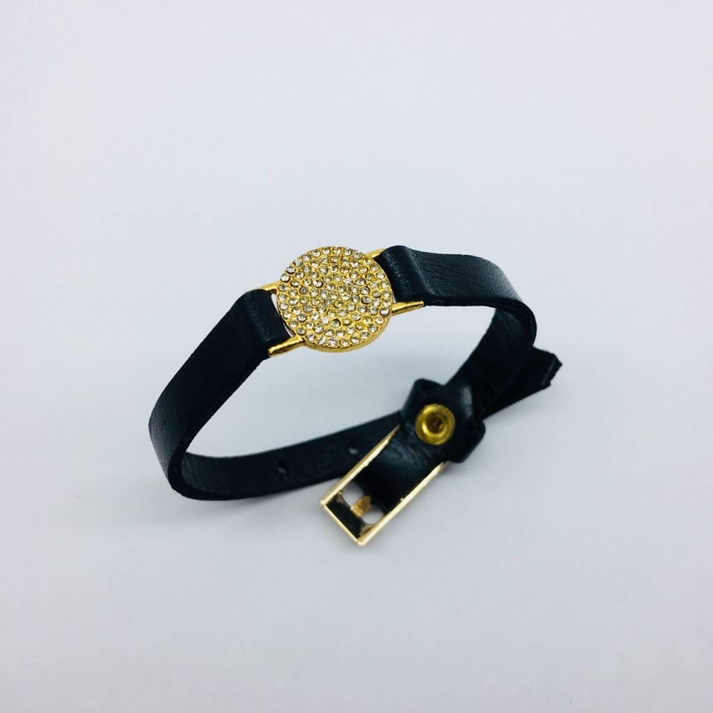 Rebel Design Crystal Disc Leather Bracelet