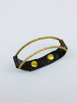Rebel Design Leather and Crystal Negative Space Cuff