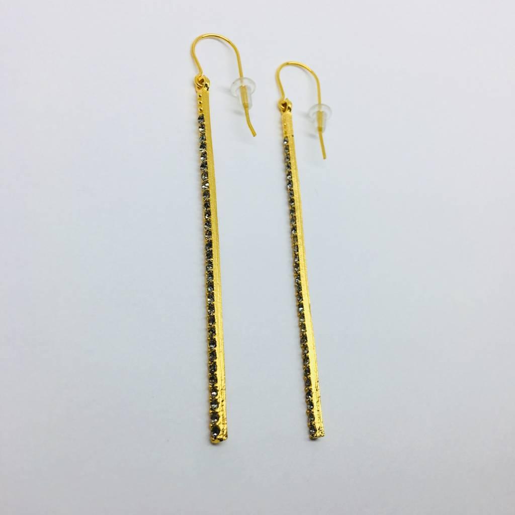 Rebel Design Swarovski Long Bar Earring