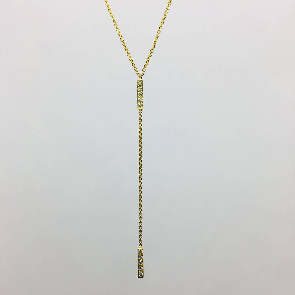Jennifer Meyer Jennifer Meyer 18k Diamond Short Bar Lariat Necklace