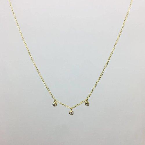 Jennifer Meyer Jennifer Meyer 18k Triple Diamond Bezel Necklace