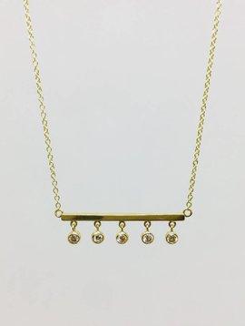 Jennifer Meyer Jennifer Meyer 18k and 5 Diamond Bezel Bar Necklace