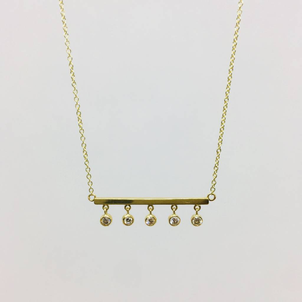 Jennifer Meyer Jennifer Meyer 18k and 5 Diamond Bezel Bar Necklace