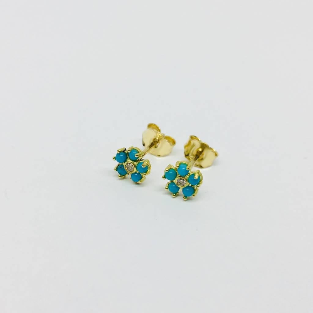 Jennifer Meyer Jennifer Meyer 18k and Turquoise Flower Earrings