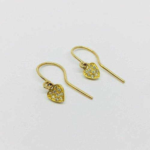 Jennifer Meyer Jennifer Meyer 18k and Diamond Heart Drop Earrings