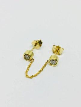 Jennifer Meyer Jennifer Meyer 18k Double Diamond Bezel Chain Stud