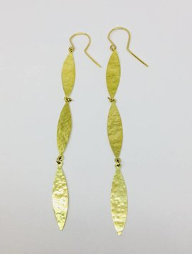 Jennifer Meyer Jennifer Meyer 18k Hammered 3 Drop Marquis Earrings