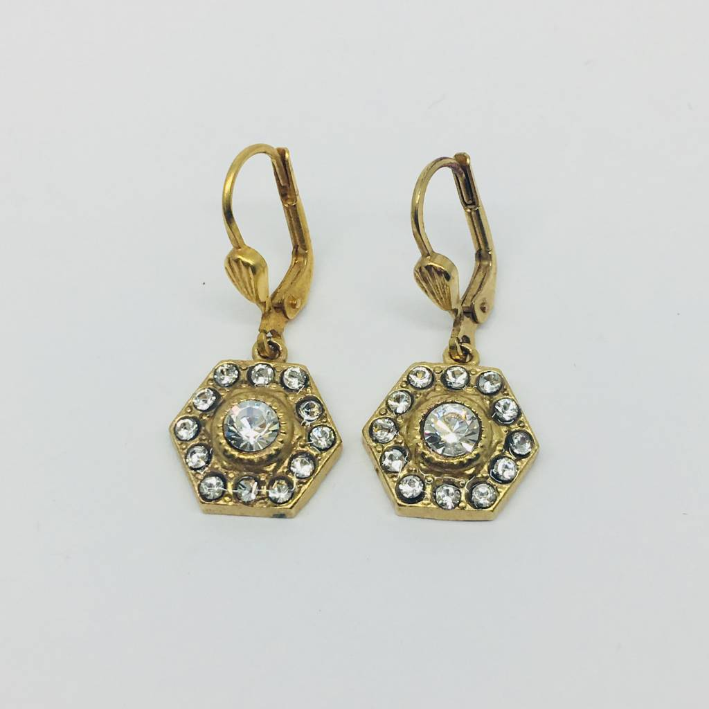 La Vie Parisienne Crystal hexagon drop earrings