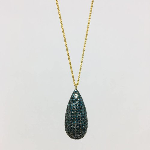 Lera Jewels Pave Teardrop Necklace