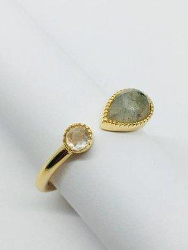 Rachael Ryen Pear Stone and Bezel Ring