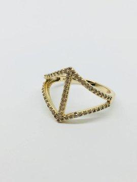 Rachael Ryen Curved Diamond Gold Ring