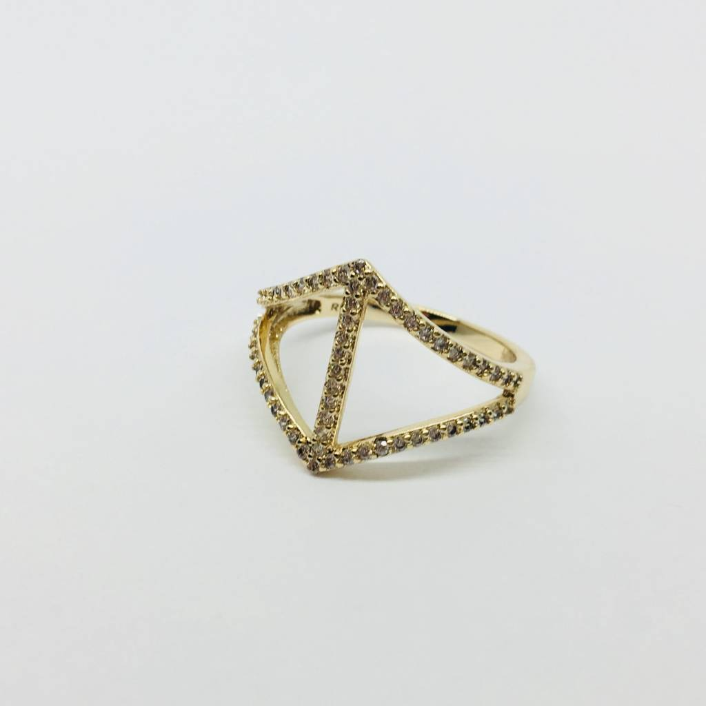 Rachael Ryen Curved Diamond Gold Ring