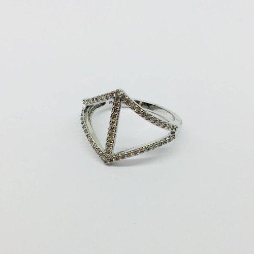 Rachael Ryen Curved Diamond Silver Ring
