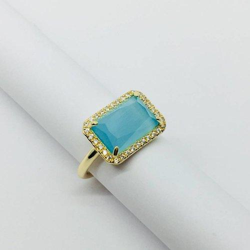 Rachael Ryen Aqua Rectangle Ring
