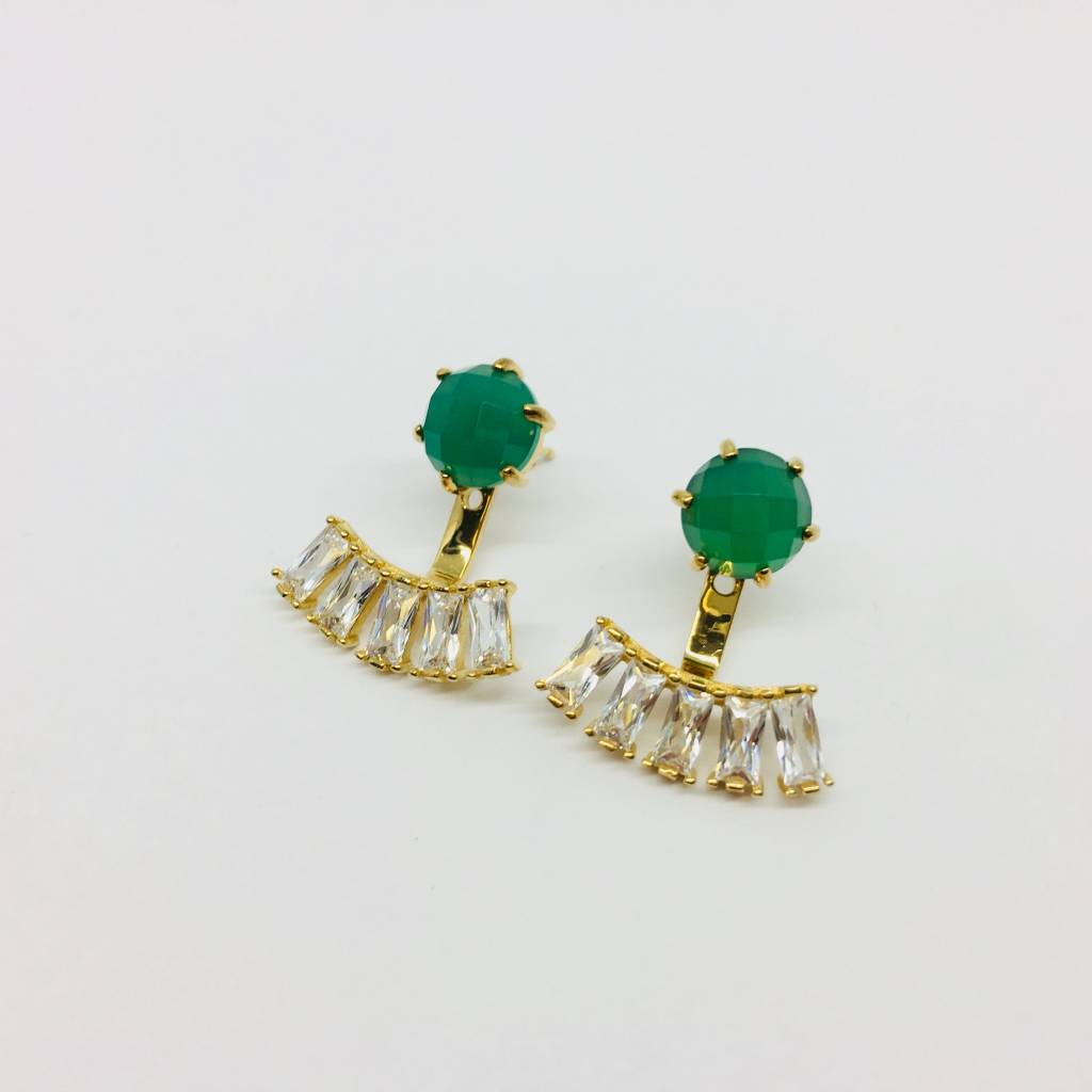 Rachael Ryen Emerald Jacket Earrings