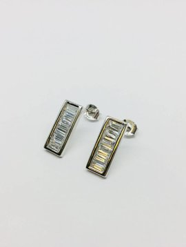 Rachael Ryen Silver Baguette Earrings