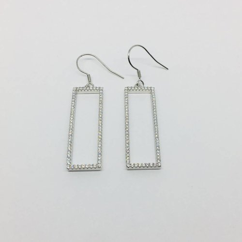 Rachael Ryen Open Pave Rectangle Earrings