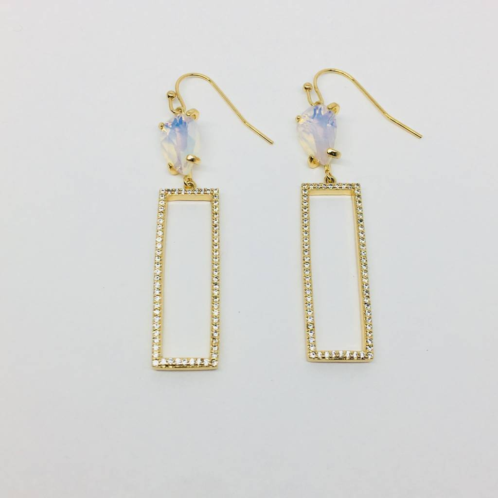 Rachael Ryen Open Rectangle and Moonstone Earrings