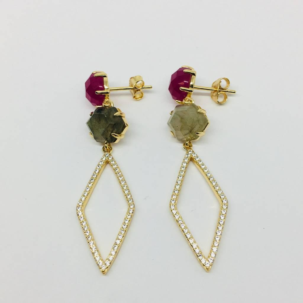 Rachael Ryen Stone Gem and Pave Drop Earrings