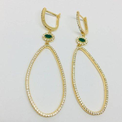 Rachael Ryen Irregular Oval and Emerald Earrings
