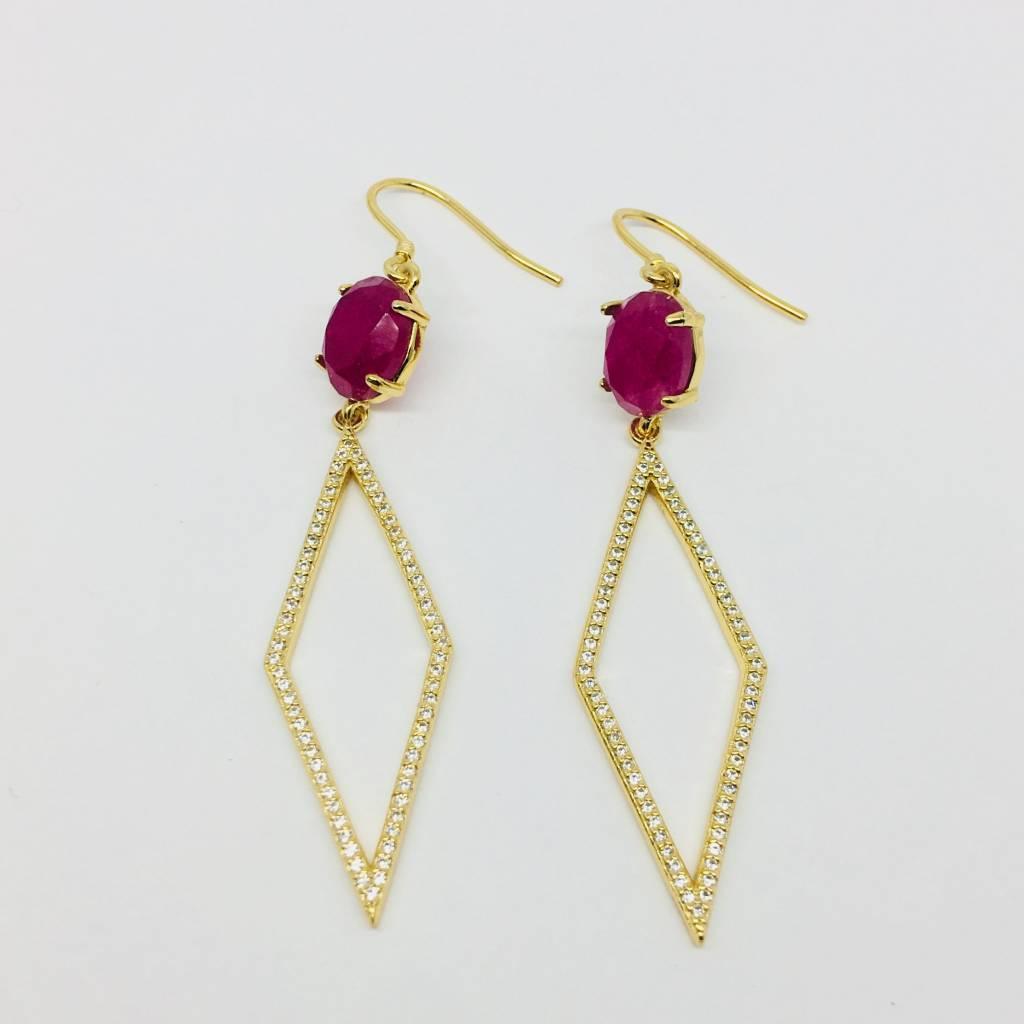 Rachael Ryen Pink Stone and Diamond Drops