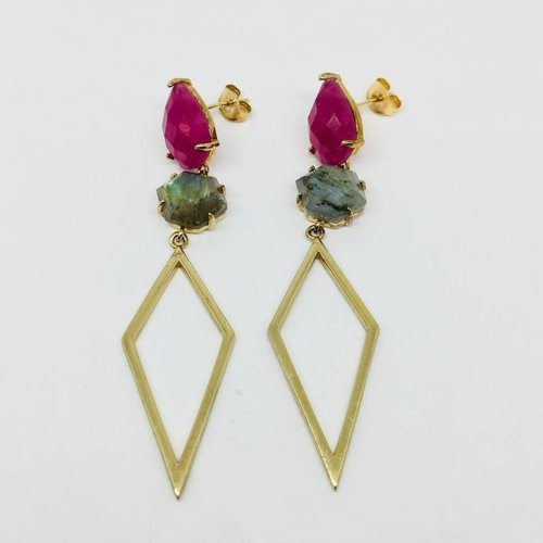 Rachael Ryen Stone Pointed Drop Earrings