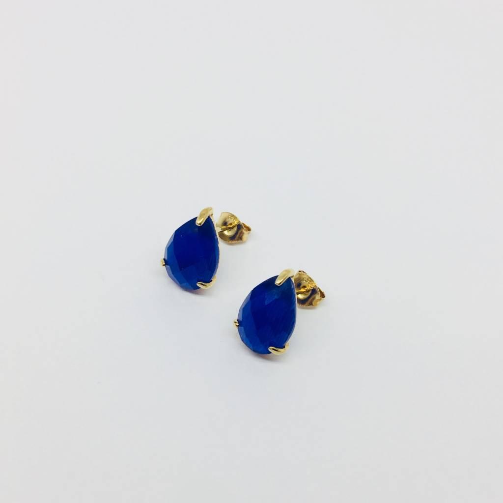 Rachael Ryen Blue Stone Stud Earrings