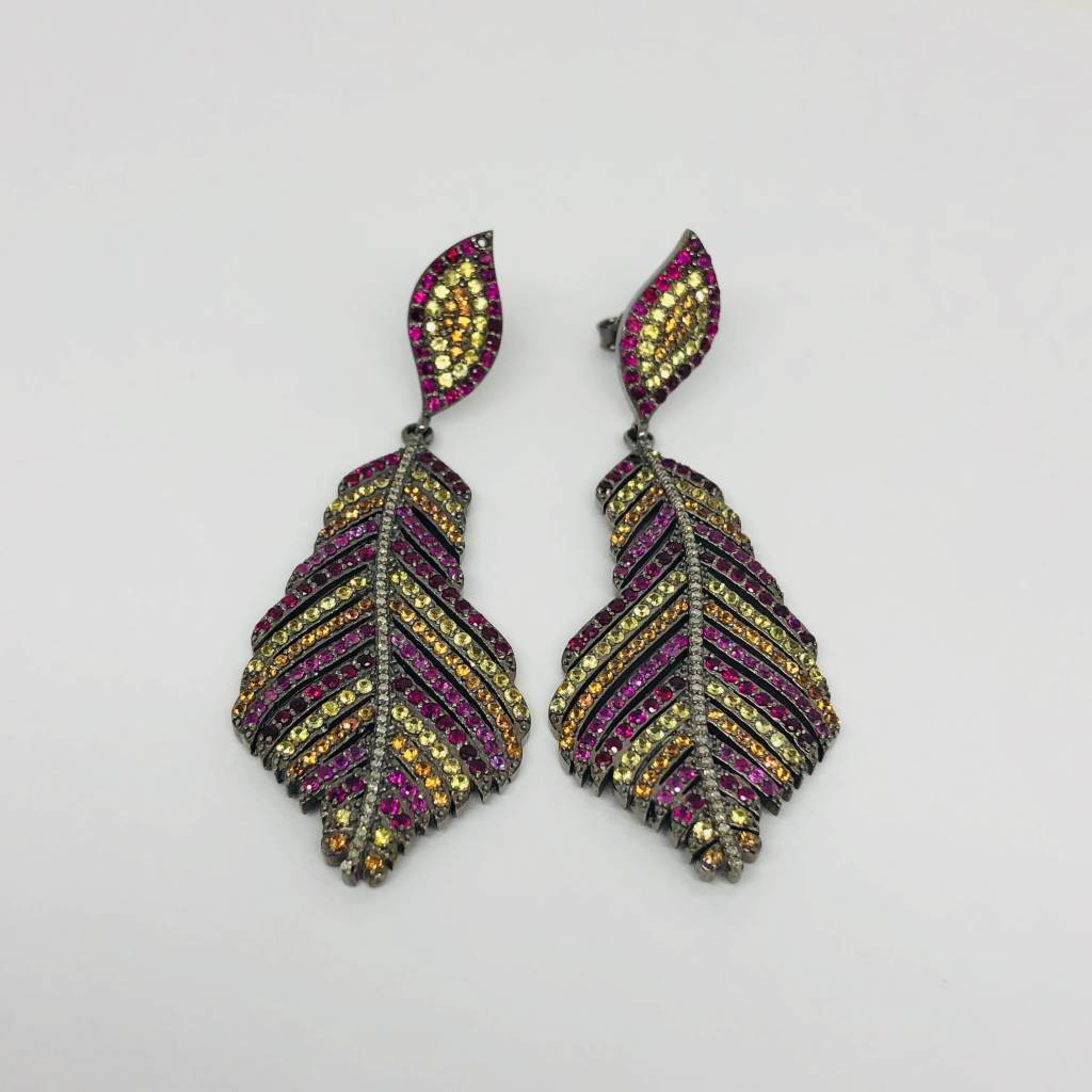 Lotasi Multi-Colored Feather Earrings