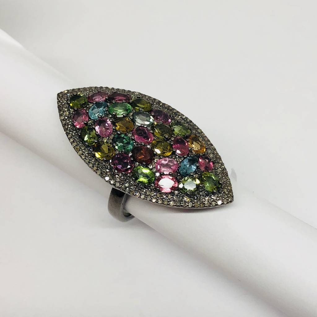 Lotasi Multi-Colored Marquis Ring