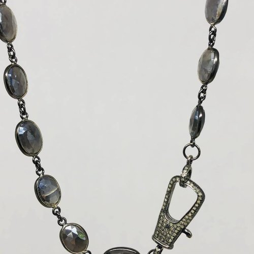 Lotasi Pave Clasp Moonstone Chain