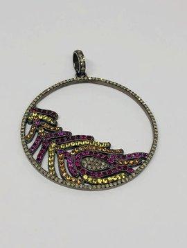 Lotasi Multi-Colored Circle Feather Pendant