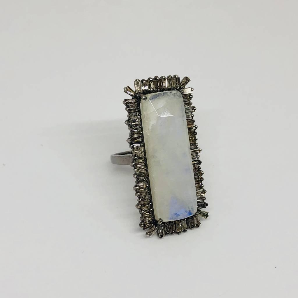 Lotasi Moonstone and Diamond Ring