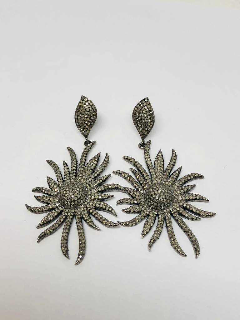Lotasi Pave Sunflower Earrings