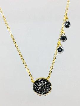 Nyla Star Pave Large Black Disc Crystal Necklace