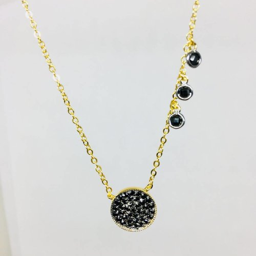 Nyla Star Pave Large Black Disc Crystal Necklace