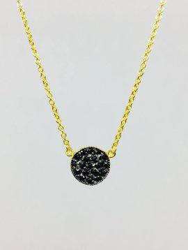 Nyla Star Pave Black Crystal Disc Necklace