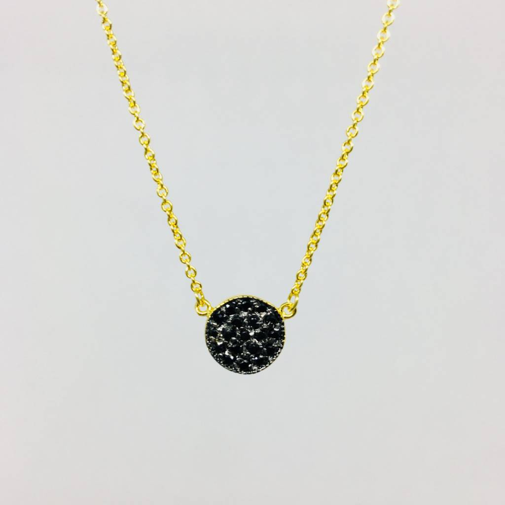 Nyla Star Pave Black Crystal Disc Necklace
