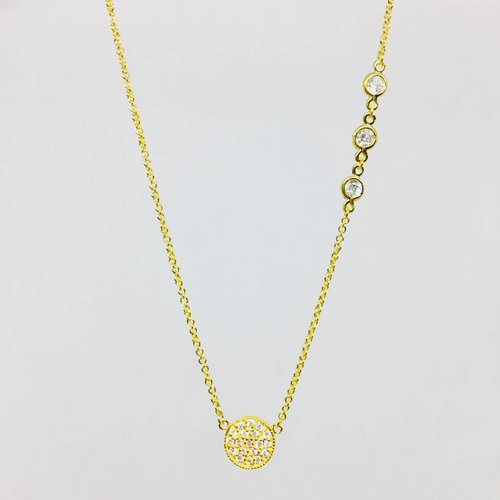 Nyla Star Pave Gold Disc Necklace